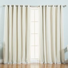 Willa Arlo Interiors Brunilda Solid Blackout Thermal Grommet Single Curtain Panels Color: Beige, Size: W x L Drapes And Blinds, Grommet Curtains, Drapes Curtains, Curtain Panels, Bedroom Curtains, Luxury Bedroom Furniture, Glam Bedroom, Modern Master Bedroom, Single Bedroom