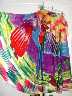 WOW~RARE!~SIGNED~Vtg. 50's~MEXICAN~Couple Desert Scene~Novelty Print PinUp Skirt