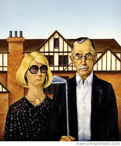 """American Baby Boomers"" - illustration by John Perlock, via Flickr (2007);  This was a cover for North Shore Magazine in Chicago.  The story was about Baby Boomers moving up to more extravagant houses after their children move out."
