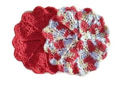 Pretty Apple Red Dish Cloth Set  FREE SCRUBBY by ACCrochet on Etsy, $8.00