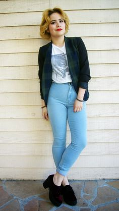 Allison from Broke As Hell wears the Easy Jean -- Shop Now! http://store.americanapparel.net/easy-jean_rsams300?c=Medium%20Stone%20Wash%20Indigo