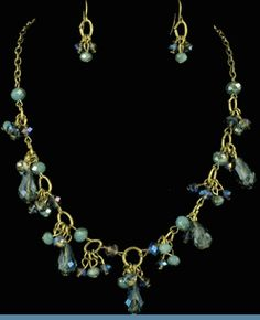 Vintage Style Goldtone Chain Necklace with Earrings Accented with Royal Blue & Blue Glass Beads @ www.whimzaccessories.com $20