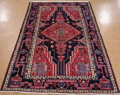 4 x 7 PERSIAN TOYSERKAN Tribal Hand Knotted Wool NAVY BLUE RED Oriental Rug #PersianToyserkanTribalNomadicGeometric