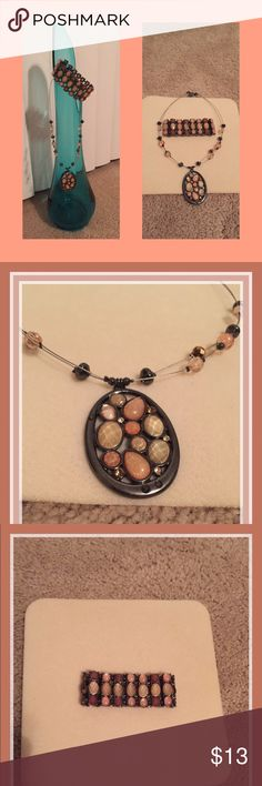NY&Co Necklace and Bracelet. Beaded, matching New York and Company necklace and bracelet. Colors are neutral with tans and peach. In new condition, no tags. New York & Company Jewelry