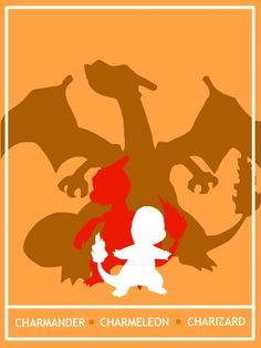 Pokemon Charmander - Charizard Minimalist Poster by Mr-Saxon.deviantart.com
