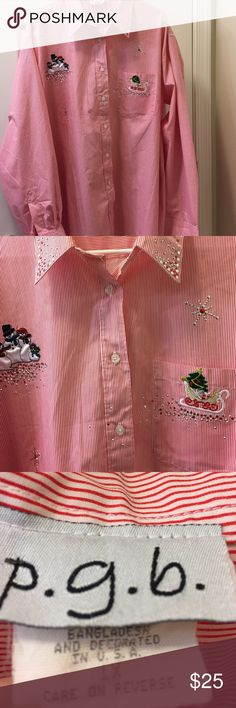 p.g.b Holiday Button Down Shirt With Embellishment Size 1X   White Button Down Blouse With Thin Red Stripes   Candy Cane look with glitter and satin Holiday theme!   Snowman Family; Sled with Christmas Tree and Presents; Random Snowflakes and Santa 🎅🏻 is on left sleeve  . Very festive!  RN 72165   65% Polyester and 35% Cotton   Smoke-free and pet free home. p.g.b Tops Button Down Shirts