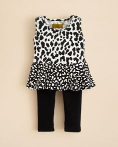 Nicole Miller Infant Girls' Textured Leopard Print Tunic & Capri Leggings Set - Sizes 12-24 Months