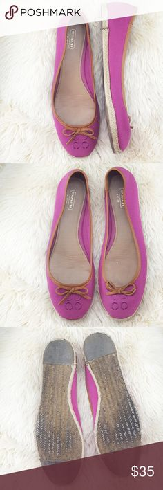 """Pink Coach Espadrille Flats Pink Coach Espadrille flats Condition: Used - outer soles show signs of wear (3rd pic) - view the 5th pic to see a stain   Size tag says it's 10 but it runs small Measurements :    -heel to toe: 10.5""""   - wide: 3.5""""  Please view all pics Coach Shoes Espadrilles"""