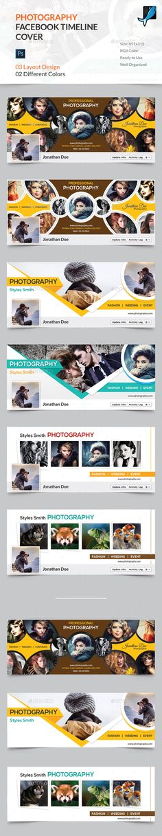 Features: 03 Different Designs with 2 color version 06 Photoshop PSD File RGB color mode Size: Help Guide Included Previ Facebook Cover Design, Facebook Timeline Covers, Photography Timeline, Book Photography, Social Media Banner, Social Media Design, Fb Banner, Banner Design Inspiration, Page Layout Design