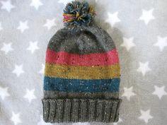 Knit Pride Hat  Pansexual Pride  Grey Wool by SpacerobotStudio