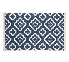 Patterned indoor/outdoor navy rug
