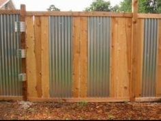 Pics For > Corrugated Metal Fence Gate