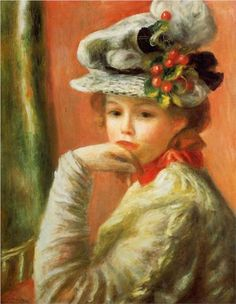 Young Girl in a White Hat - Pierre-Auguste Renoir