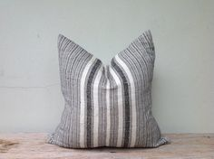 Navy Stripe Pillow Case Nature Hemp Hand Woven  by orientaltribe11, $60.00