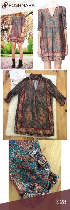 """EUC Zara Boho feathers Paisley Print Tunic Dress In excellent pre-loved Condition amazing Boho Tunic or dress depending on your height from Zara in size small. Optional Sleeves rolled up. V neck with pockets on the side. Not lined. Small slit on the side. Measure about 32.5"""" length, 19"""" pit to pit, 19"""" sleeves.  Shift style dress so waist and hips are free. ❌No trades or modeling. Always open to reasonable offers. Bundle and save 15%. Thank you‼️ Zara Dresses Mini"""