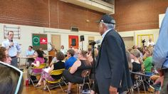Bruce Broussard at mic at Rose City Park School on Lead in water issue