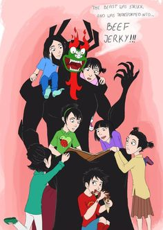 Due to all that Dad!Aku art I've seen around… It's very cute, even if rather unlikely. Ashi Samurai Jack, Samurai Jack Aku, Old Cartoons, Disney Cartoons, Drawing Reference Poses, Cartoon Art, Cartoon Network, Caricature, Anime Manga