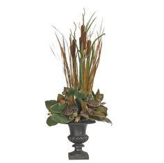 Magnolia (GN159): Magnolia Cattail, Green Brown, Iron Urn, 18wx48dx39h