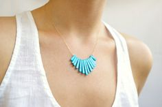 Turquoise Fan Necklace by MadeByMaru on Etsy, $35.00