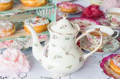 How to Throw a Tea Party on a budget! We'll cover food, decorations, tableware, music and more to make it the perfect party! Do you love tea parties? They just feel special. You're with your friends, you get to eat yummy pastri Girls Tea Party, Tea Party Theme, Tea Party Birthday, 2nd Birthday, Birthday Ideas, Animal Birthday, Royal Tea Parties, Donut Decorations, Afternoon Tea Parties