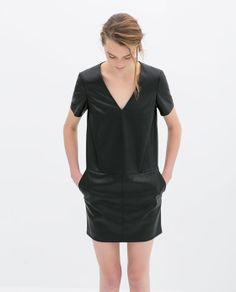 Love the shape, and leather, though concerned it may be too short for work events  Image 2 of FAUX LEATHER V-NECK DRESS from Zara