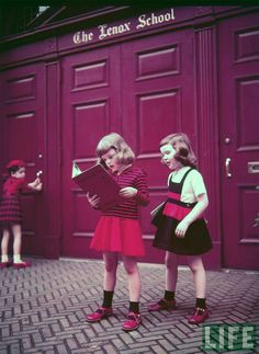 Vintage Children's Fall Fashions. Photographed by Nina Leen at The Lenox School in NY for Life Magazine.  From the Life Magazine Archives. Nina Leen was one of the first female photographers for Life Magazine.