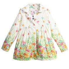Pampolina Girls Floral Print Raincoat at Childrensalon.com