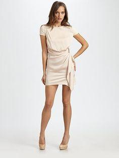 DVF Diane Von Furstenberg ALBA Dress Silk Draped S 6 Cream $375 Party Cocktail
