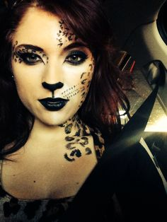 We're always trying to find our next best Halloween costume. If you're feeling feline, we've got a litter of cat-tastic tutorials right here, including a full leopard face and Grumpy Cat. Take your Halloween makeup to the next level with … Cheetah Makeup, Cheetah Face, Animal Makeup, Cheetah Print, Cute Halloween Costumes, Halloween Kostüm, Halloween Face Makeup, Clever Costumes, Diy Costumes