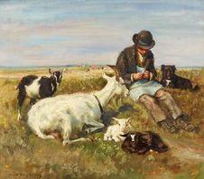 Julius Paul Junghanns: Rastender Ziegenhirte aus unserer Rubrik: Gemälde des 19. Jahrhunderts