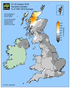 October – sunny and dry for many so far - Posted on 17 October, 2016by Met Office Press Office October, so far has been a relatively quiet month with high pressure centred over Scandinavia controlling the weather across the UK for most of the past fortnight. The influence of the high pressure has meant many places have seen rather dry weather but also a fair bit of sunshine under clear skies.