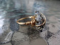 The Mineral Ring- Wire wrapped ring with a raw crystal rock, available red, brown, copper, silver, or gold.  Love this in silver!
