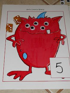 Learning and Teaching With Preschoolers: Monster Addition. Add wiggly eyes to match your number!