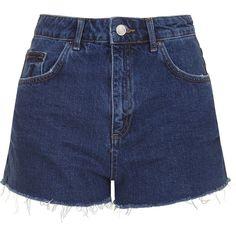 TOPSHOP MOTO Raw Indigo Mom Shorts ($52) ❤ liked on Polyvore featuring shorts, bottoms, short, pants, indigo denim, topshop shorts, short shorts, cut-off, topshop and cut off short shorts