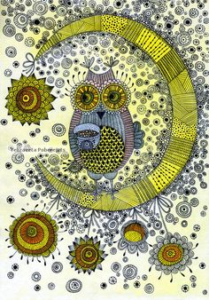 "I just love love love the fact that there is a pinboard ""Zentangle Owls"" around here! :)"