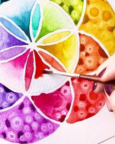 Watercolor Mandala, Watercolor Pattern, Watercolor And Ink, Watercolor Illustration, Watercolor Paintings For Beginners, Watercolor Art Lessons, Mandala Artwork, Free Pattern, Pattern Design