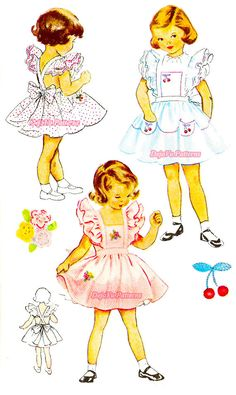 McCall 1605 Vintage 1950s Girl's Pinafore with Petticoat Sewing Pattern by DejaVuPatterns, $16.99