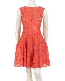 Cap Sleeve Lace Fit and Flare Dress - Bright floral lace creates a dramatic statement for spring in this gorgeously girly fit and flare dress from Gabby Skye. The cap sleeve adds a modest touch, while a nude lining creates a sexy element to the ensemble.