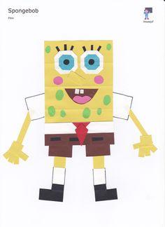 Spongebob - 16 vierkantjes Spongebob, Origami, Games, Logos, Films, School, Children, Movies, Sponge Bob