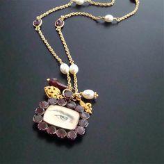 Male Lovers Eye Antique Garnet Locket & Pearls- Amour de Mystère