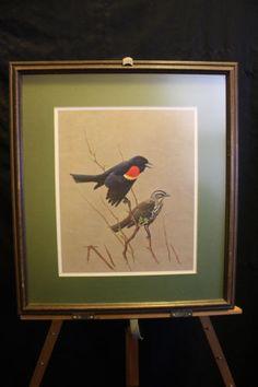"J F Fenwick Lansdowne 1958 Print Redwinged Blackbird 11"" x 13"" Framed 18""x20"" #Gifts"
