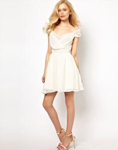 Enlarge Lydia Bright Prom Dress with Wrap Front and Lace Trim