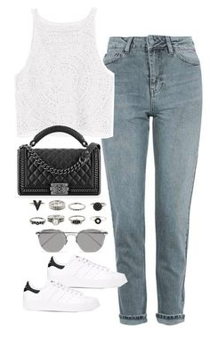 """""""Sin título #5497"""" by marianaxmadriz ❤ liked on Polyvore featuring Topshop, H&M, Chanel, Linda Farrow and adidas Originals"""