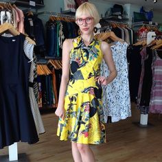Just on sale: the #3rdfloorstudio Sidney #dress! Was $190 now $152. Only 2 left an XS and an XL - message us if you want it! #sale #ss2016 #canadiandesign #madeintoronto #madeincanada #summerfashion #shoplocal #shopottawa #yellow #floral #slowfashion #workshoponly