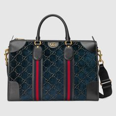 Guccio Gucci, Gucci Men, Gucci Store, Gucci Gifts, Blue Velvet, Leather Handle, Travel Bags, Luxury Branding, Shopping Bag
