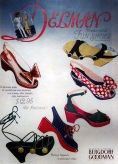 "1943: Delman Magazine Advertisement, ""Delman wooden-soled Fun Shoes."" #TurnofStyle"