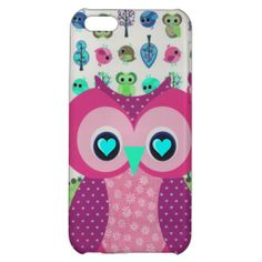 Trendy Pink Teal Polka Dots Floral Owl Pattern iPhone 5C Case