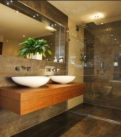 Modern bathroom ideas - wonder if husband can do this? ;)