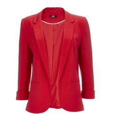 Red Ponte Blazer (£46) ❤ liked on Polyvore featuring outerwear, jackets, blazers, red, ponte jacket, three quarter sleeve blazer, slim fit blazer, ponte knit blazer e slim blazer