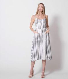 a4dd3727c175 Φόρεμα Μιντι με Κουμπιά μπροστά - Ριγέ - Λευκό